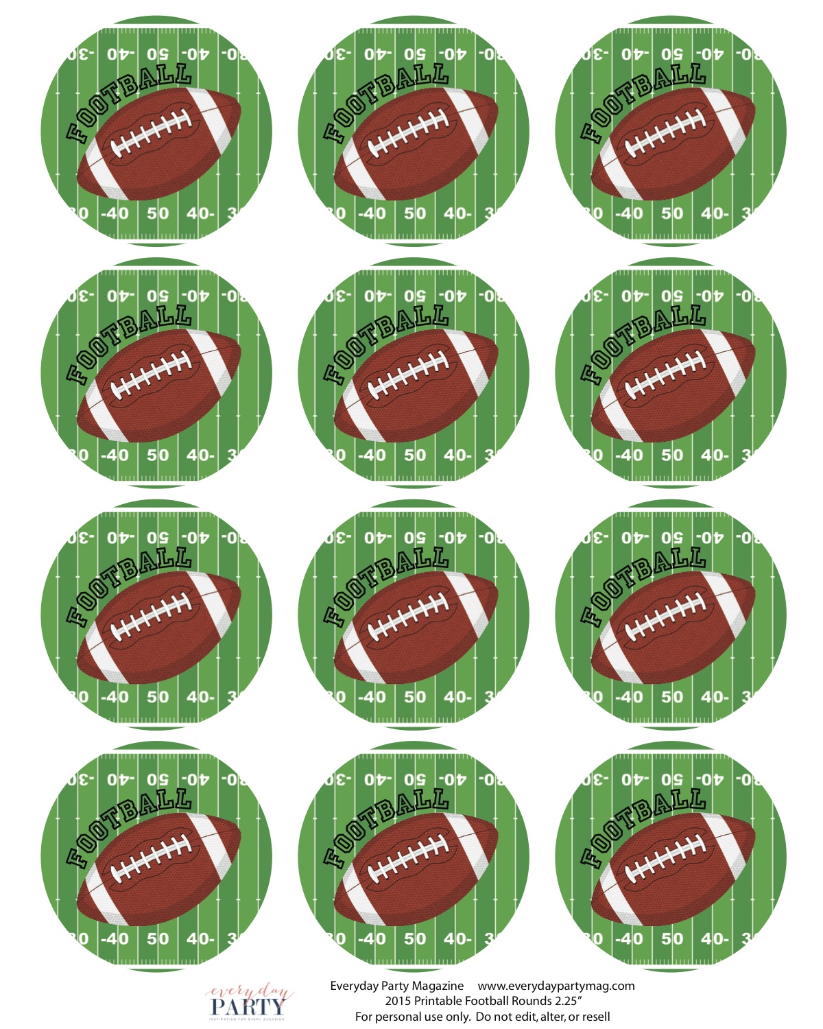 Football Party Printables - Everyday Party Magazine