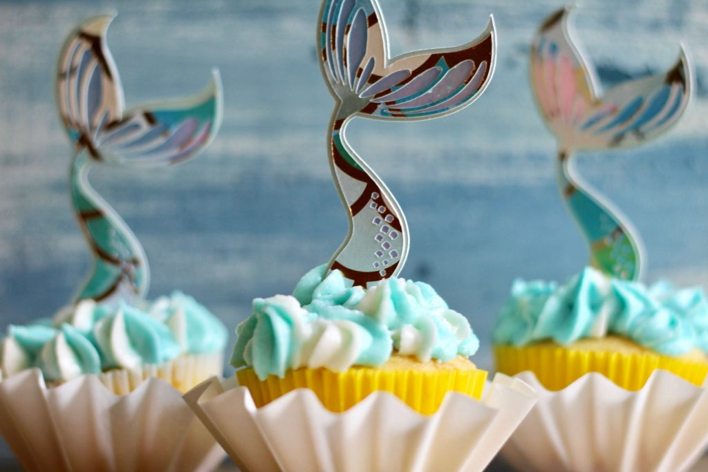 Simple Mermaid Tail Cupcake Toppers with Cricut