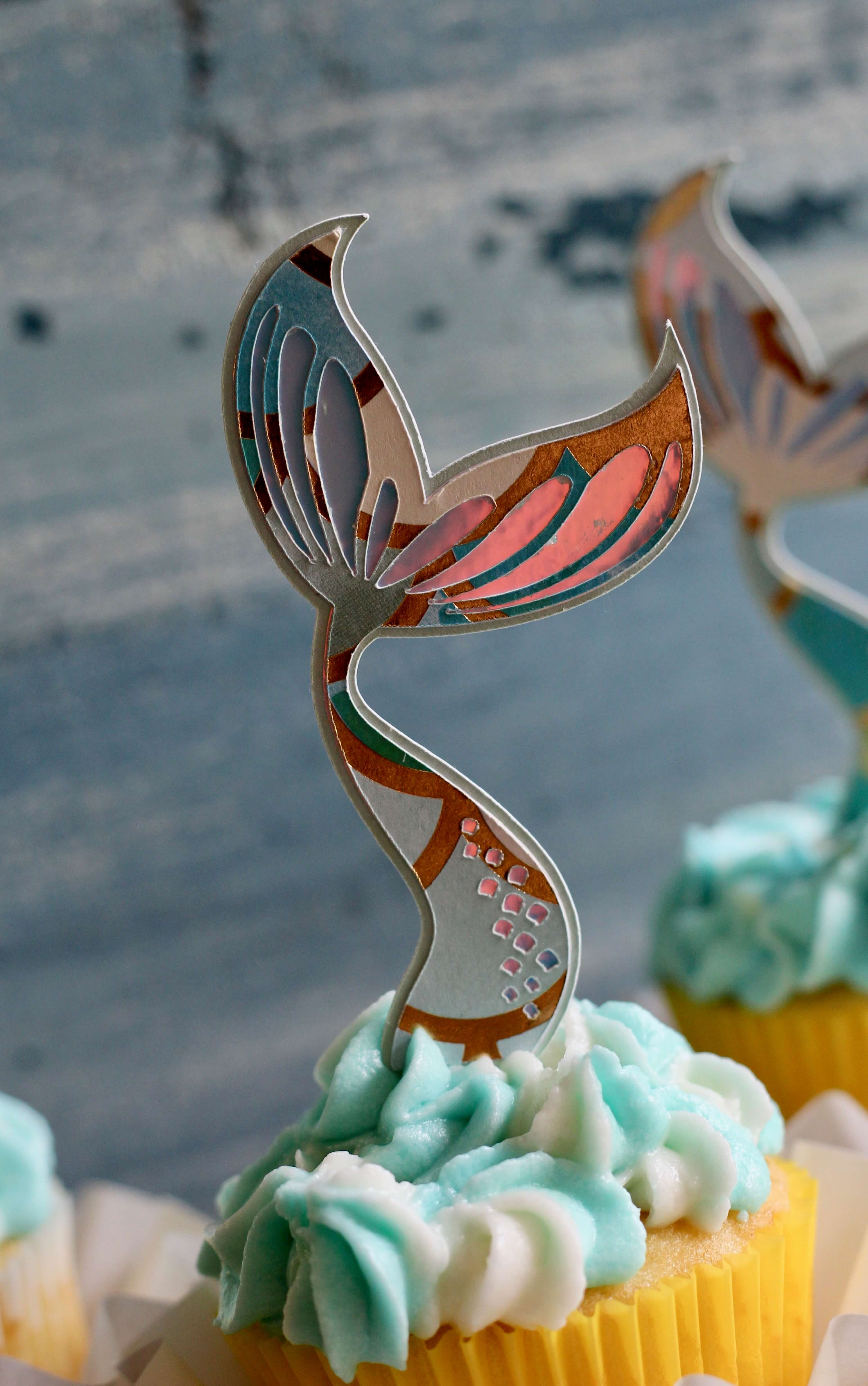 Simple Mermaid Tail Cupcake Toppers With Cricut Everyday
