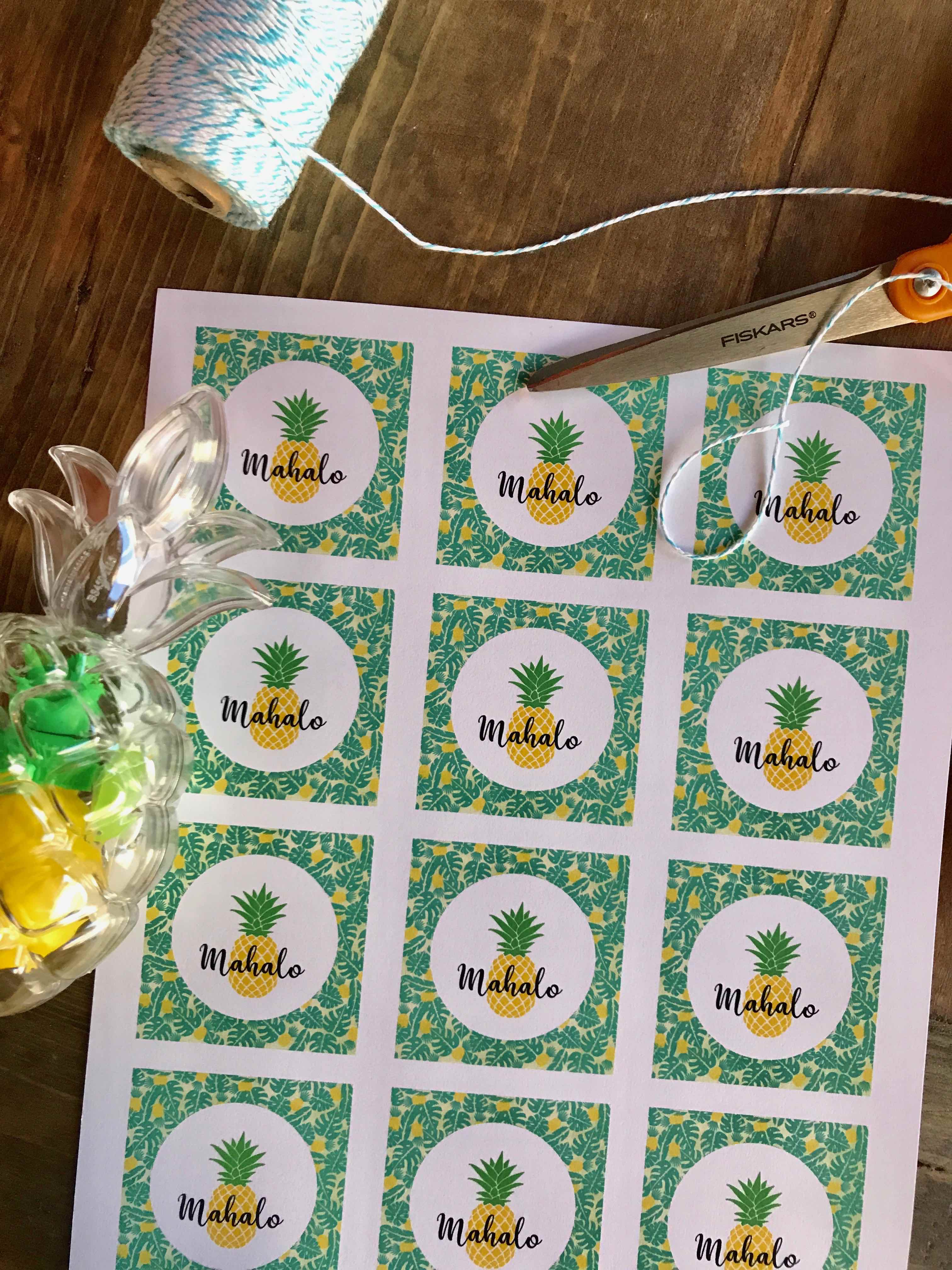 Mahalo, Party Favor, Luau, Pineapple, Free Printable, Summer Party