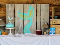 Mermaid Party, Mermaid, Oriental Trading Company, Everyday Party Magazine, Pallet Art, DIY, Cricut, DecoArt, Fish Tales