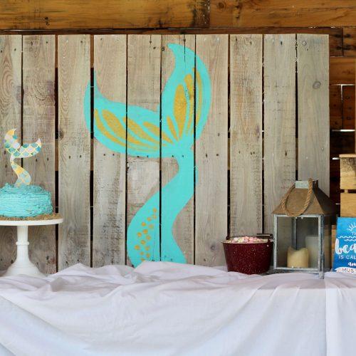 Mermaid Party, Mermaid, Oriental Trading Company, Everyday Party Magazine, Pallet Art, DIY, Cricut, DecoArt, Fish Tales