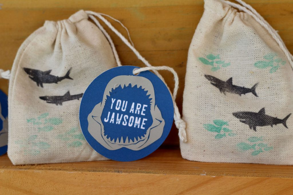 Simple Shark Themed Favor Bags