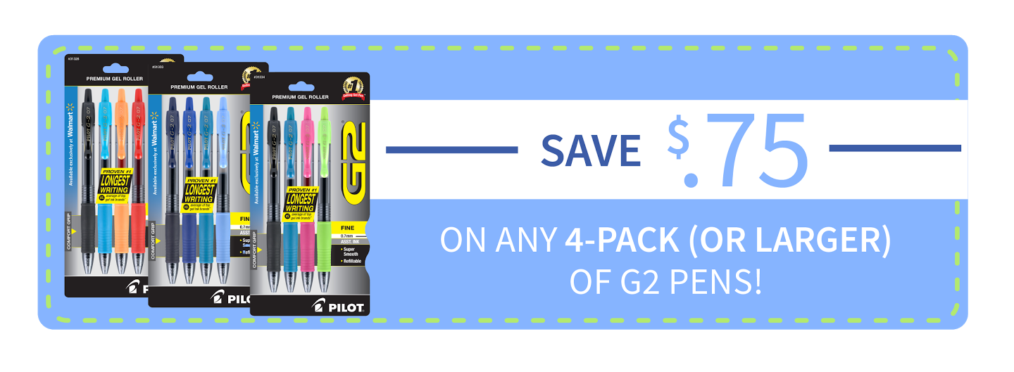 Pilot G2 Pens BTS at Walmart_coupon