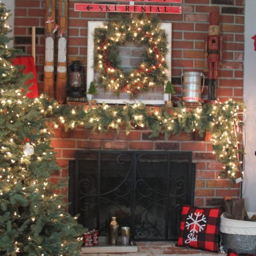 Everyday Party Magazine Ski Lodge Holiday Mantel