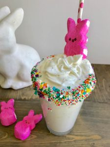 Peep Shake. We are HUGE fans of building our own Freak Shake style milkshakes at home. We all typically create our own flavors, and the person with the best flavor and tallest creation gets to pick the movie for family movie night.