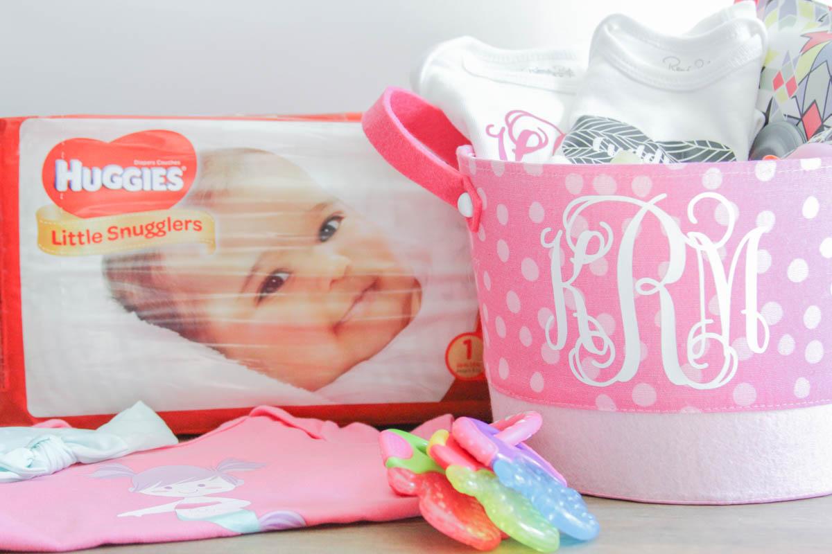 Everyday Party Magazine Custom Baby Shower Gift Basket #CricutMade #BabyShower #ThatsDarling #DIYGiftIdea