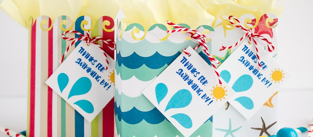 beach party favor bags with tag