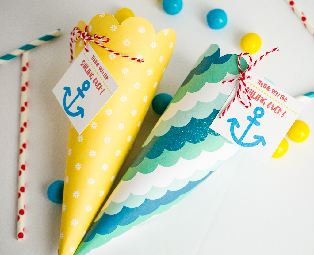 Beach party favor cones