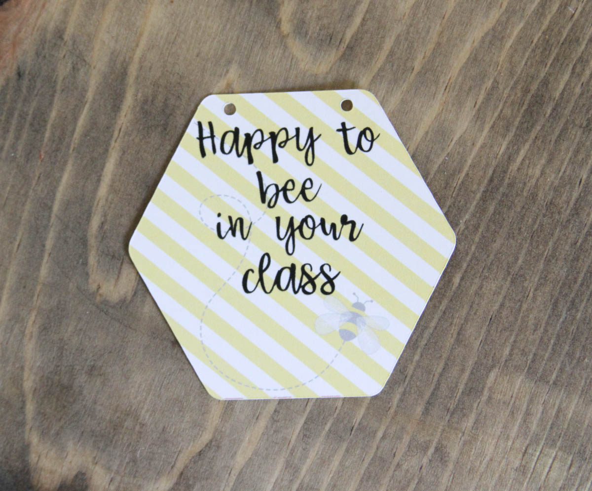 Darling Last Minute Teacher Appreciation Gift Idea Everyday Party Magazine Teacher Appreciation Gift #TeacherAppreciation #DIYGift #Bee #Punny #CricutMade