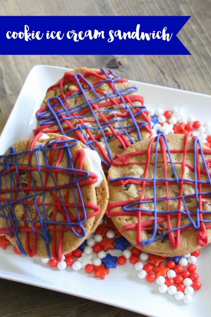 Everyday Party Magazine Cookie Ice Cream Sandwich #IceCreamSandwich #IceCream #SummerRecipe #Cookies #FourthofJuly