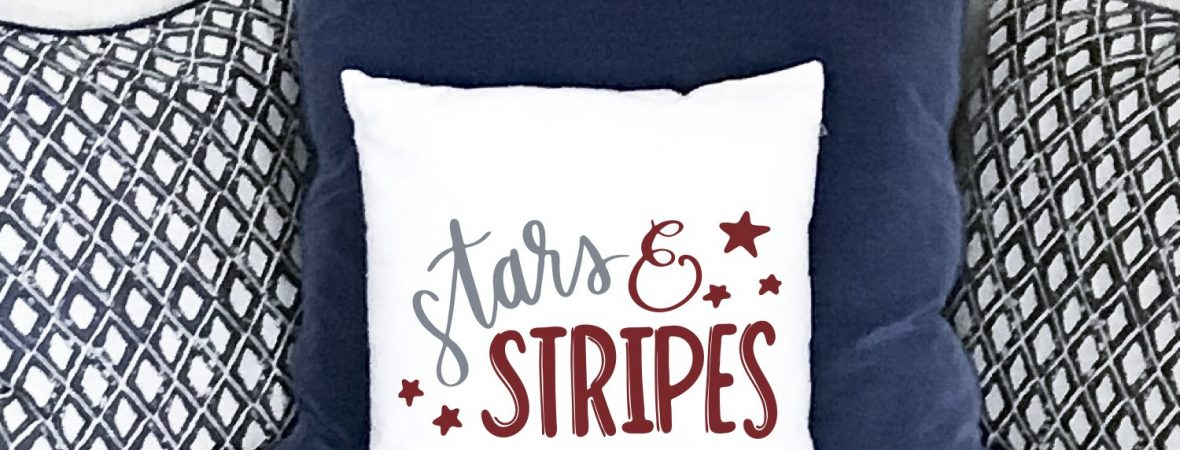 Everyday Party Magazine Stars And Stripes Pillow #CricutMade #DIY #SVG #Patriotic #StarsAndStripes
