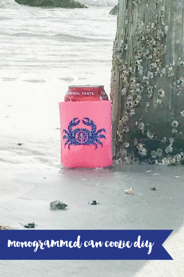 Everyday Party Magazine Monogrammed Can Coozie DIY #Monogram #CricutMade #EasyPress #CocaCola