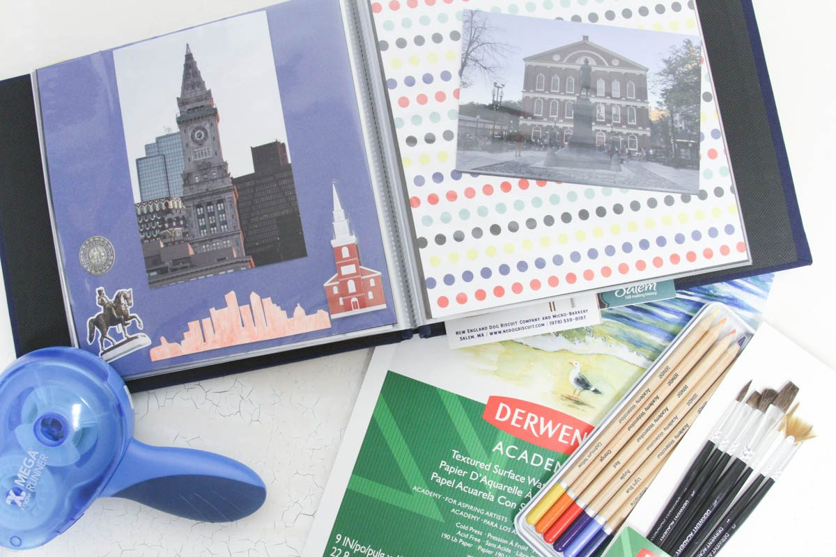 Everyday Party Magazine Vacation Memory Book #Vacation #Xyron #Watercolour #Derwent #Scrapbook