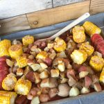 Make this simple and delicious seafood bake for guests or for family! #Recipe #LowCountryBoil #SeafoodBake