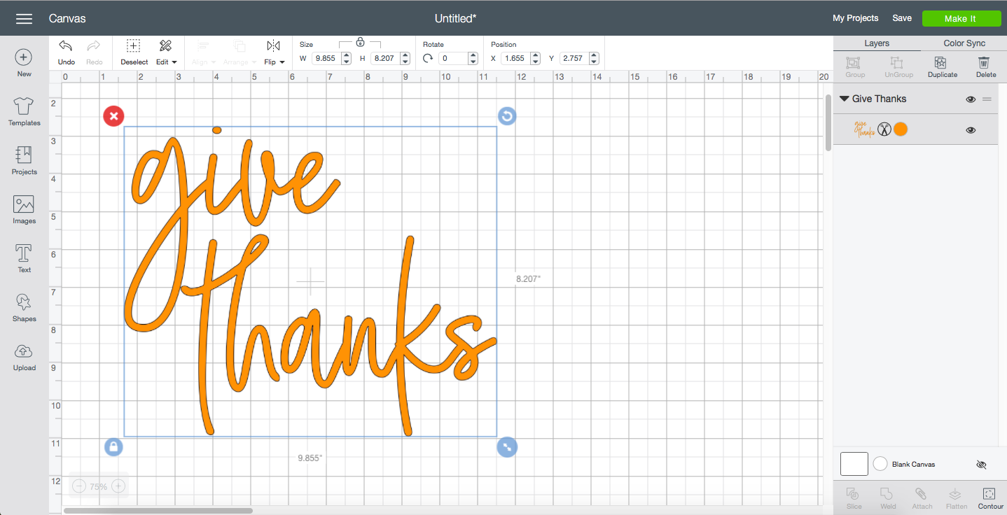 Cricut Design Space Give Thanks