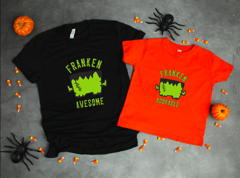 Make this Franken Awesome Halloween Shirt! Get the cut file on the blog #Halloween #Frankenstein #DIYShirt #CricutMade