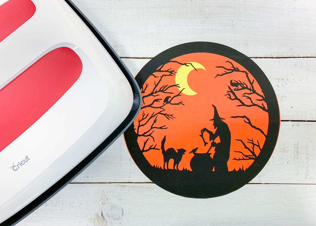 Wood Iron On Vinyl Halloween Scene Cricut EasyPress2