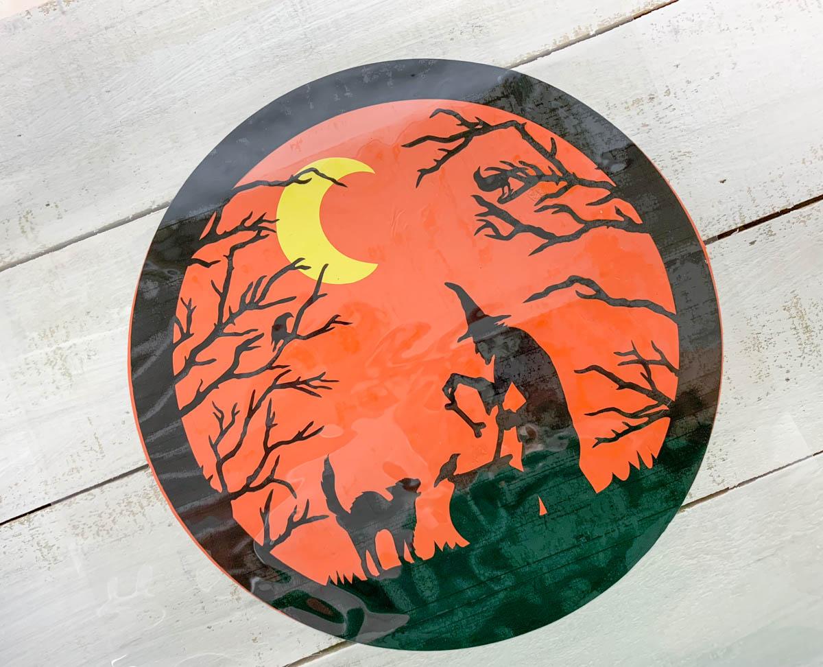 Wood Iron On Vinyl Halloween Scene