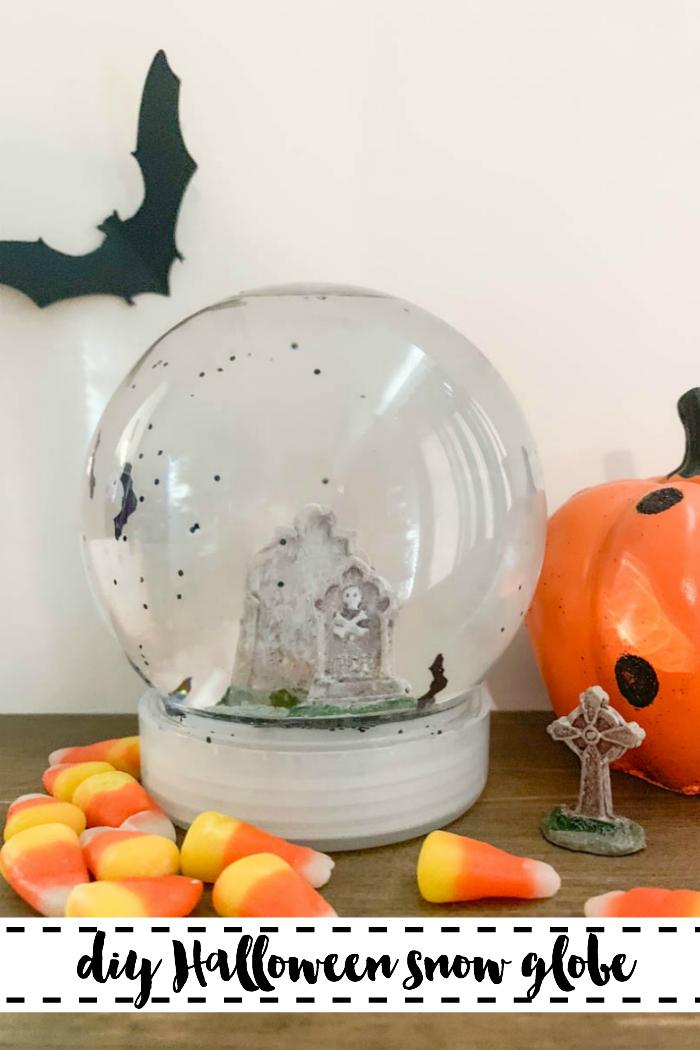 Halloween Snow Globe Bat Candy Corn