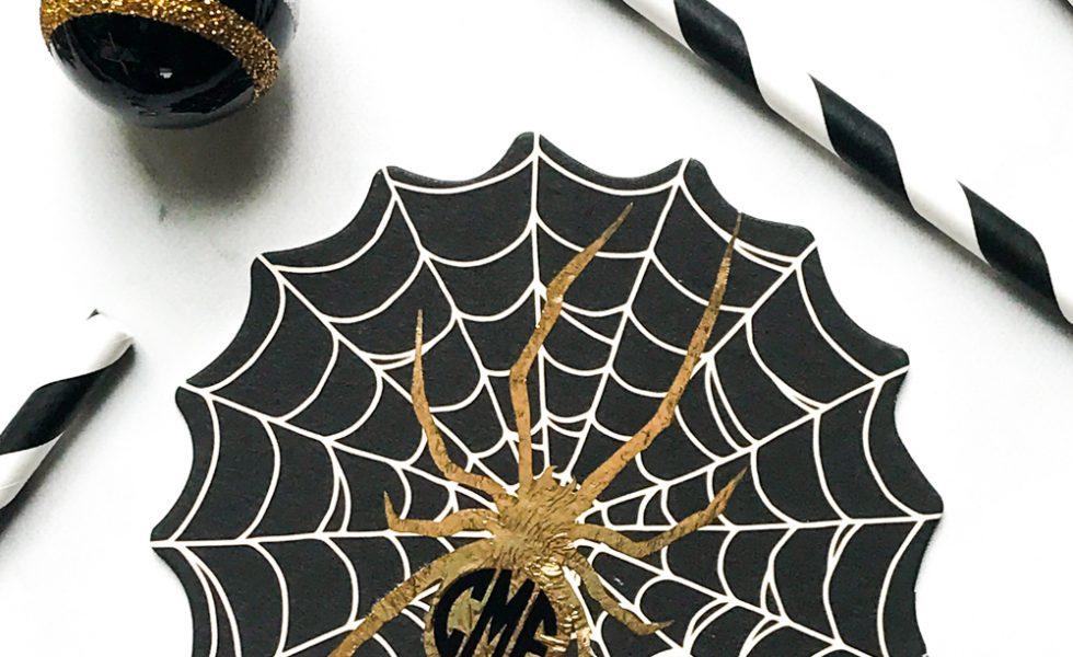 Gold Spider Coaster Halloween Decor