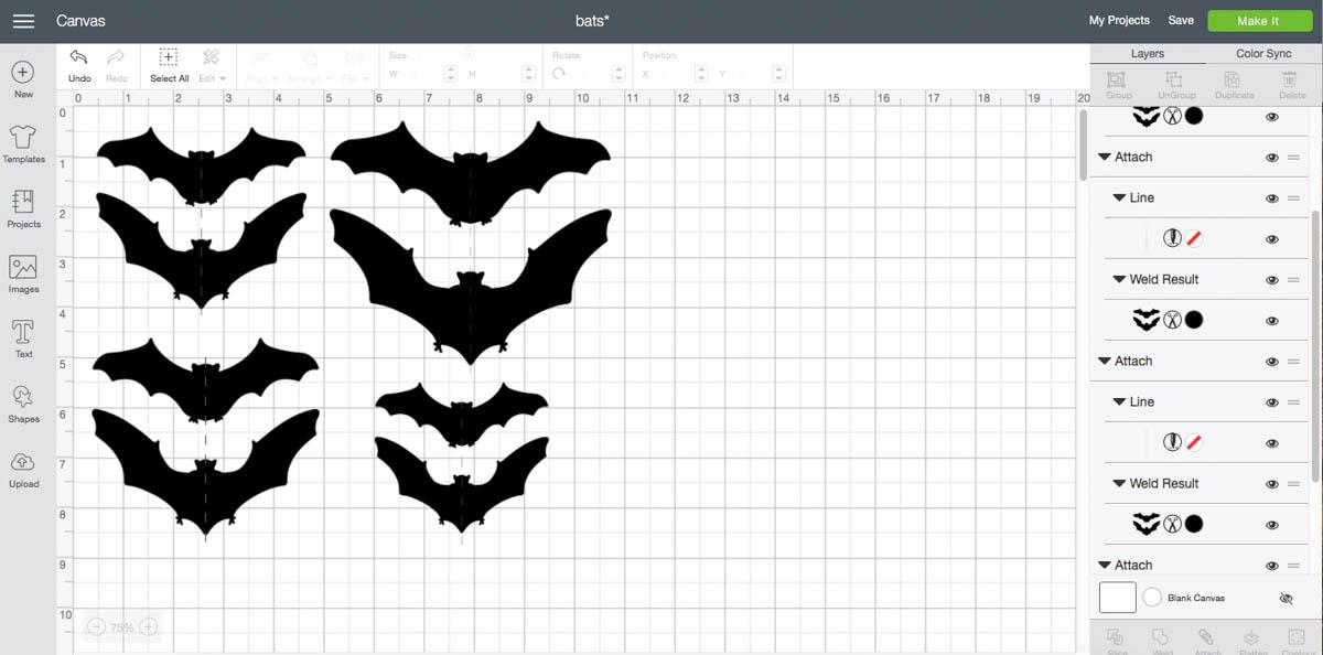 Cricut Design Space Screen Shot Bats