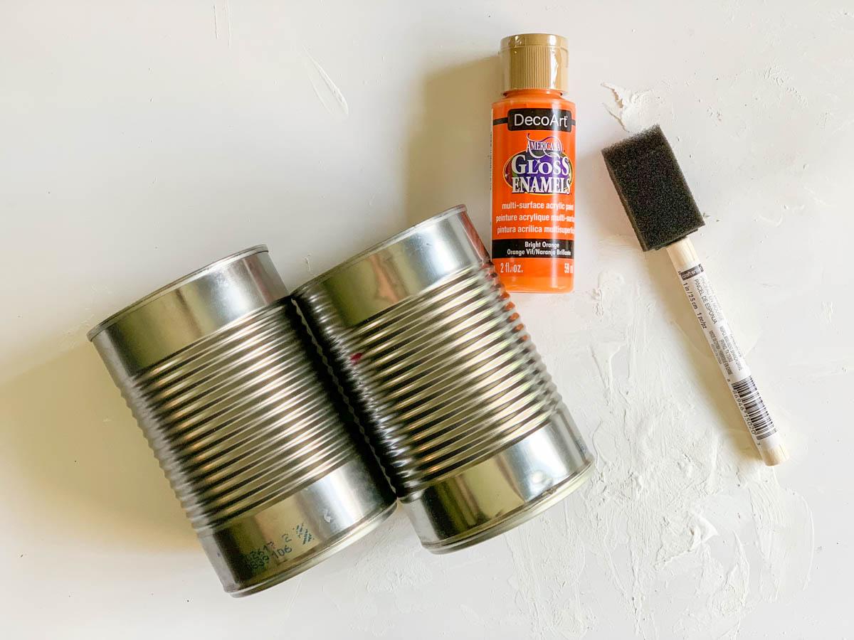 Tin Cans Paint Paint Brush