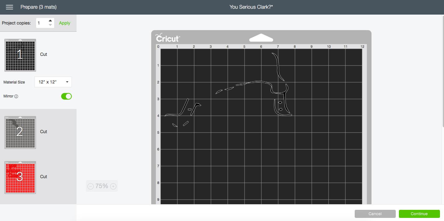 Cricut Cutting Mat Screen Shot