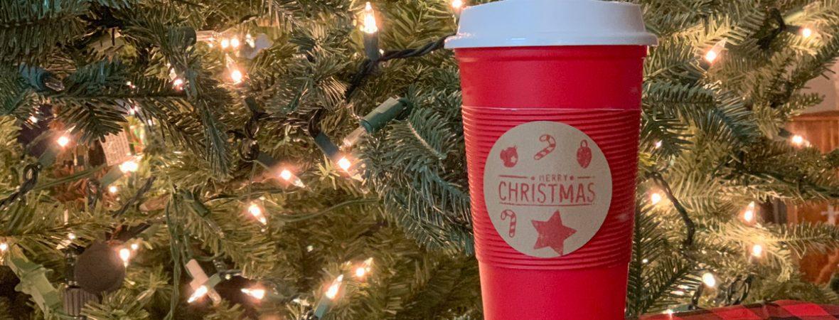 Christmas Tree Coffee Cup Buffalo Check