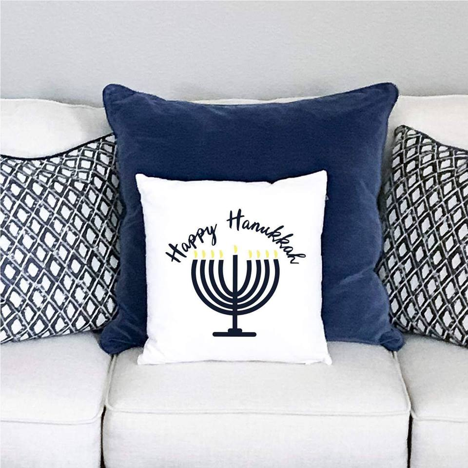 Menorah Hanukkah Pillow on Couch
