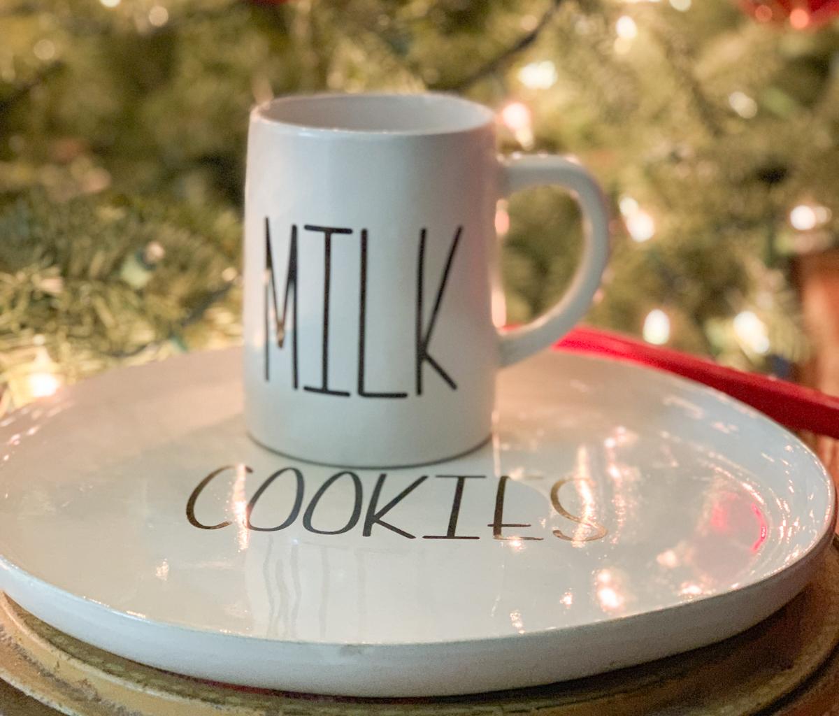 Cookies and Milk Set for Santa Christmas Tree