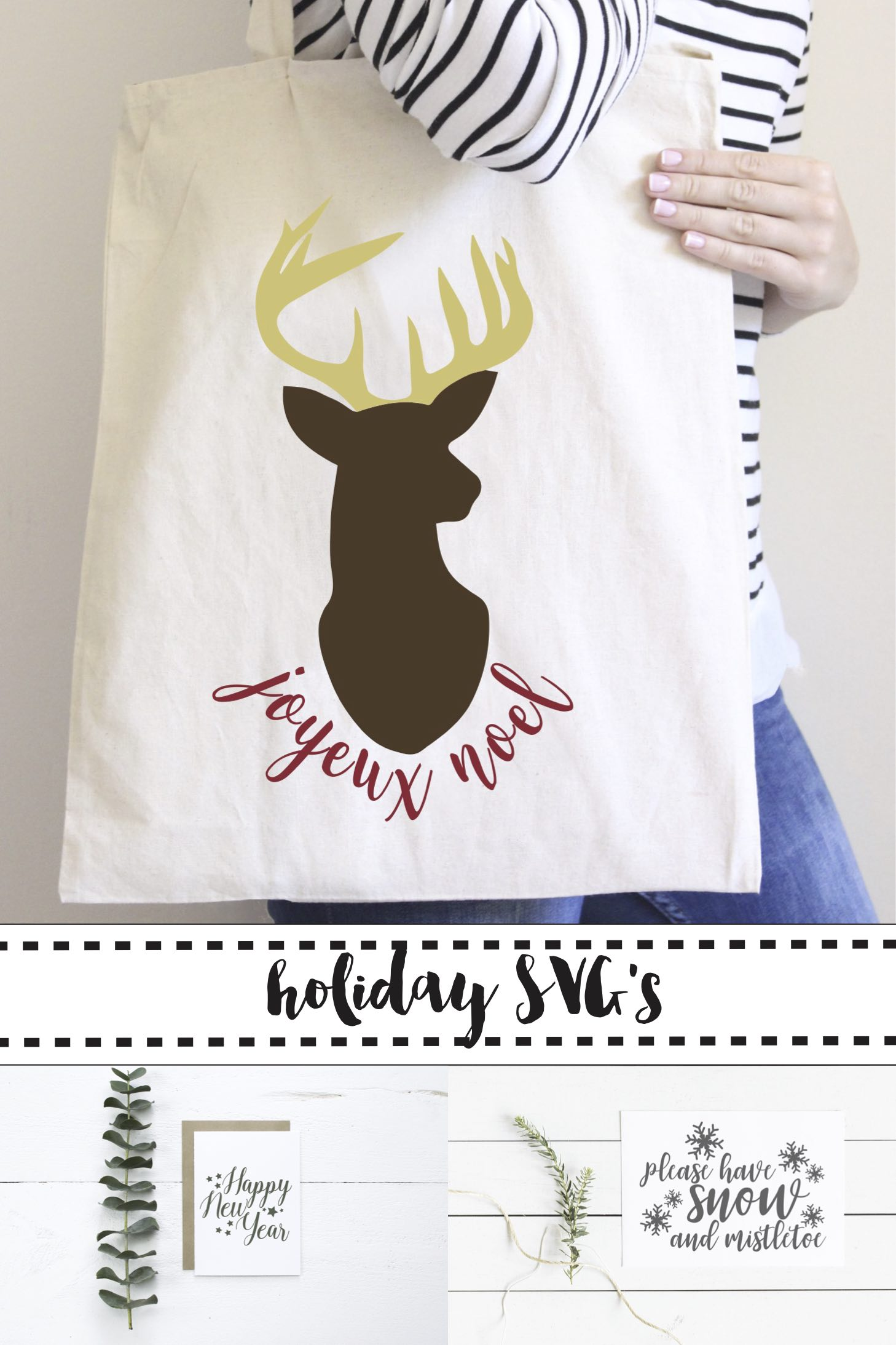 Joyeux Noel Bag, Please Have Snow Sign, Happy New Year Card