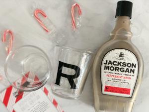 Jackson Morgan Peppermint Mocha Monogrammed Glasses Peppermint Candy Canes