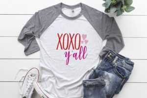 XOXO Y'all Valentine's Day Raglan Shirt