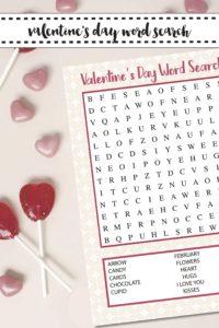 Valentine's Day Word Search Valentine's Day Candy